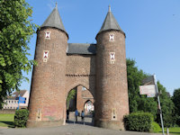 medieval town gate with two towers